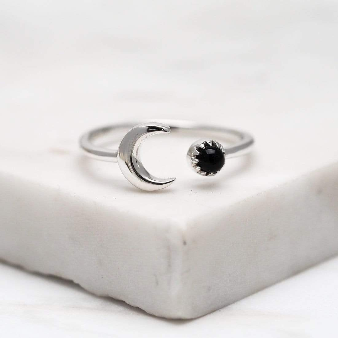 Midsummer Star Ring Crescent Onyx Ring