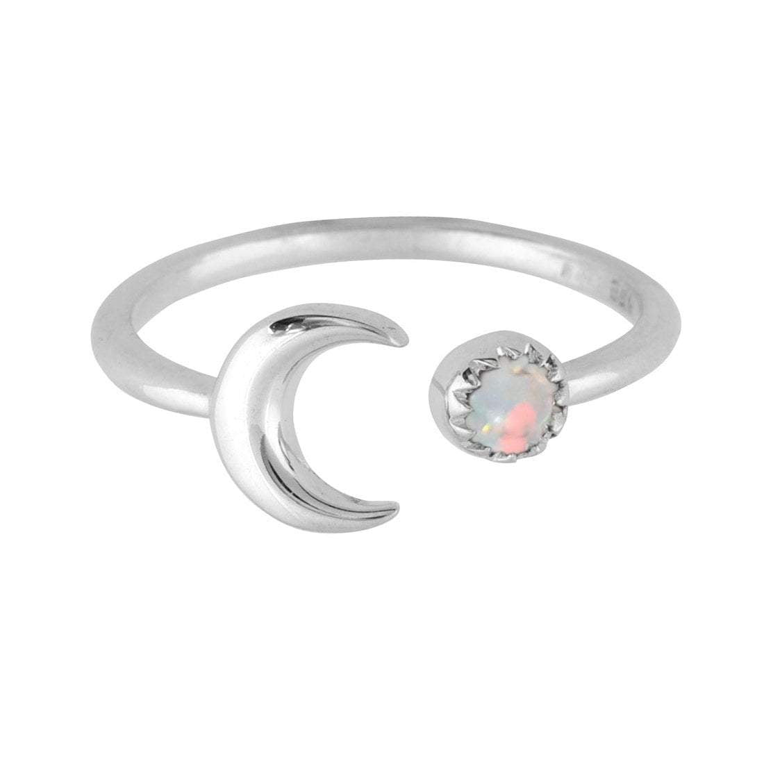 Midsummer Star Ring Crescent Opal Ring