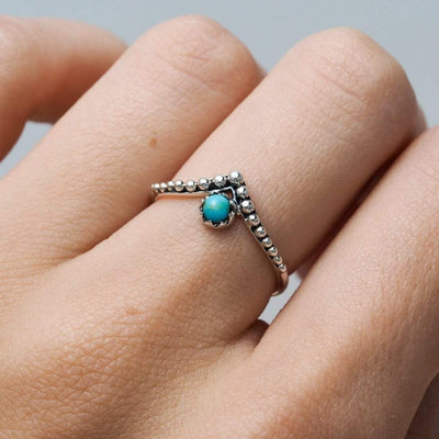 Midsummer Star Ring Dainty Spheroids Turquoise Ring