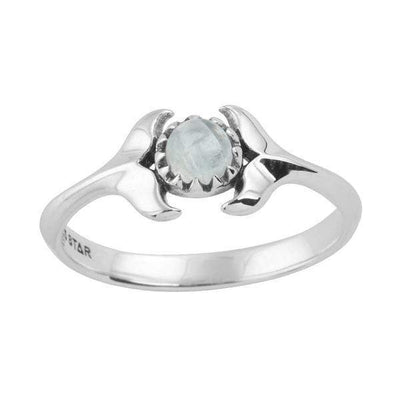 Midsummer Star Ring Dolphins Embrace Moonstone Ring