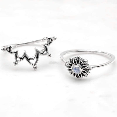 Midsummer Star Ring Essence Moonstone Ring Set