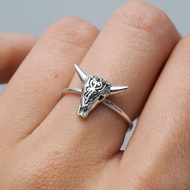 Midsummer Star Ring Filigree Cow Skull Ring