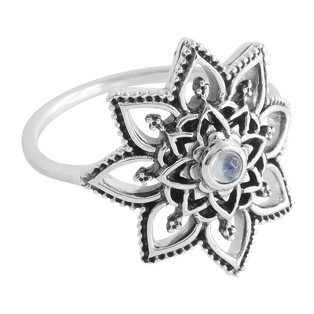 Midsummer Star Ring Flower Mandala Moonstone Ring