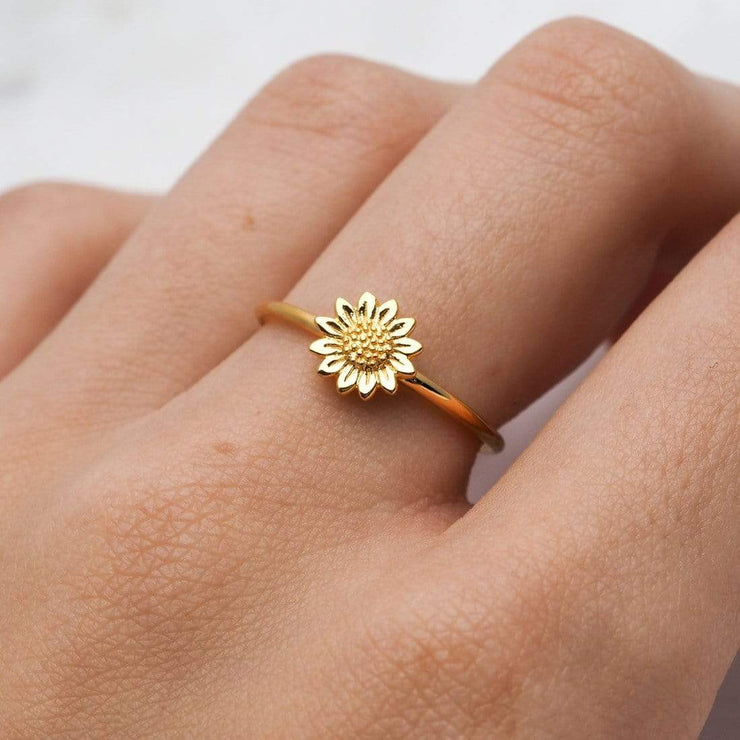 Midsummer Star Ring Gold Delicate Sunflower Ring