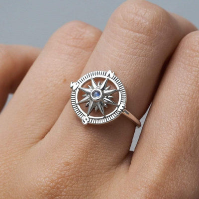 Midsummer Star Ring Guiding Light Compass Moonstone Ring