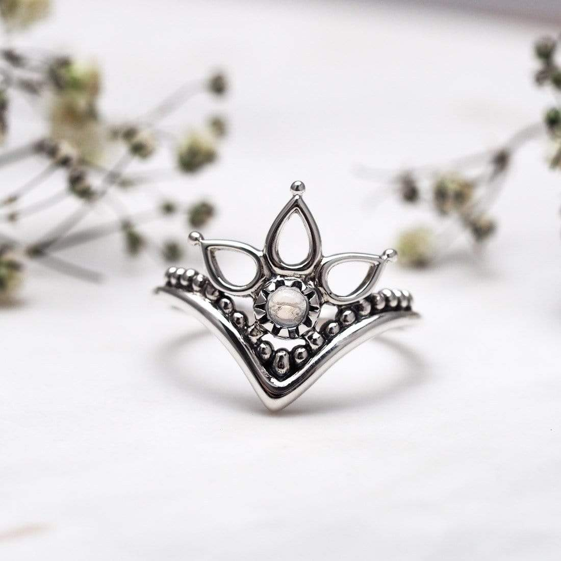 Midsummer Star Ring Interstellar Teardrops Rainbow Moonstone Ring