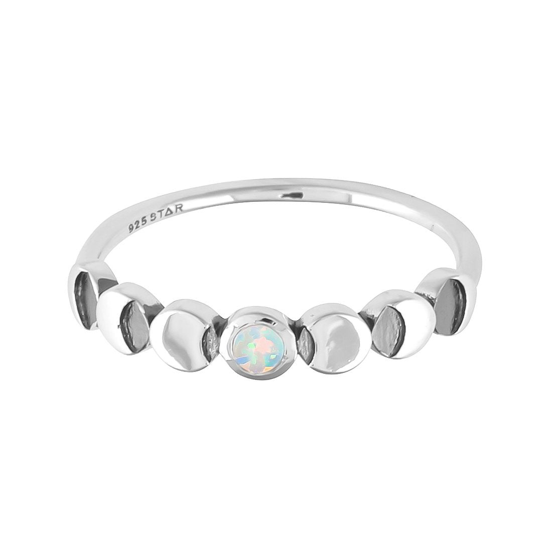 Midsummer Star Ring Lunar Phases Opal Ring