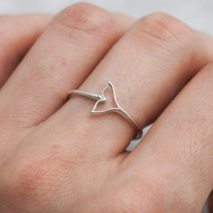 Midsummer Star Ring Minke Whale Tail Ring