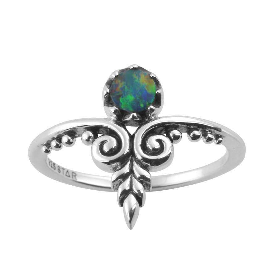 Midsummer Star Ring Ornate Swirl Opal Doublet Ring