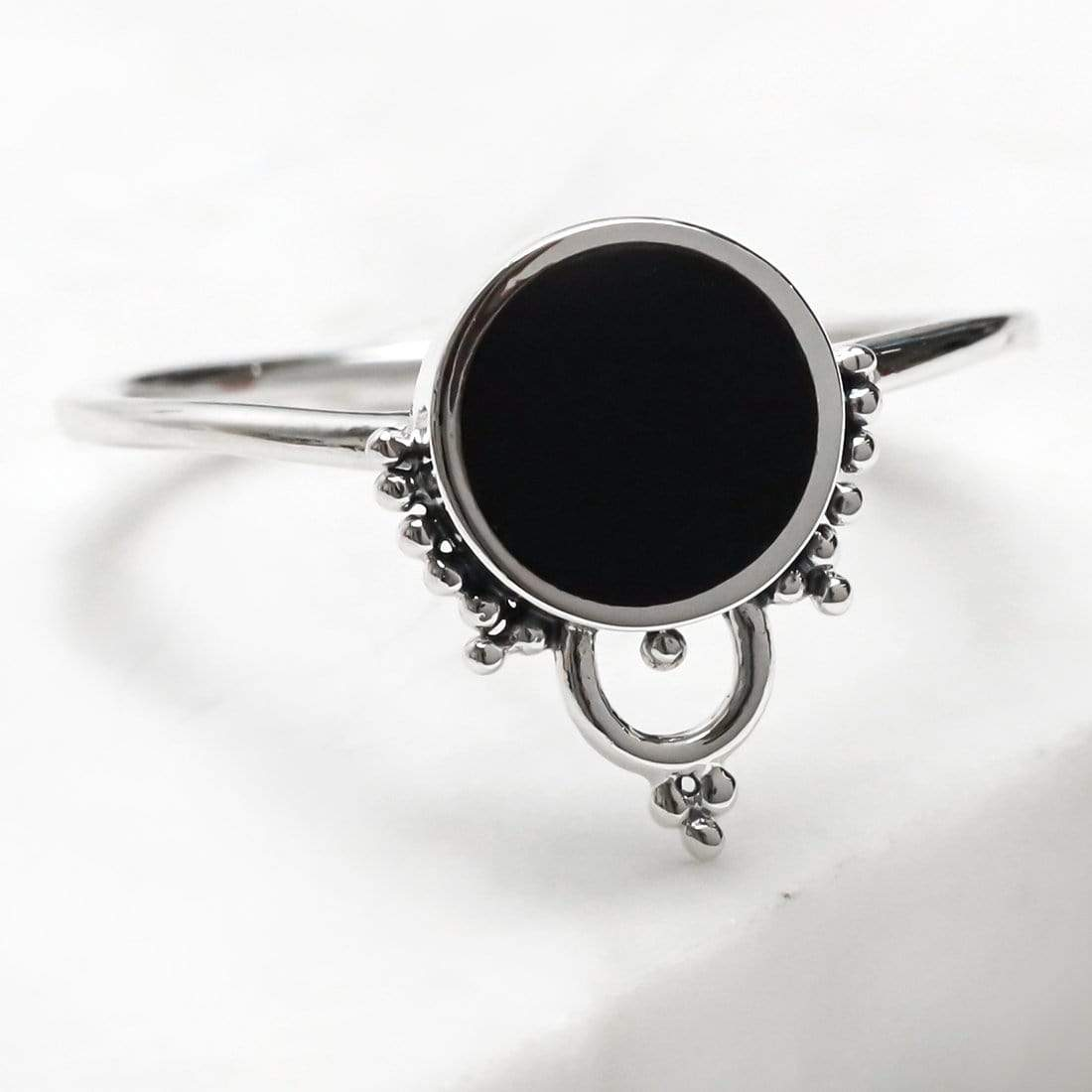Midsummer Star Ring Shimmer Halo Onyx Ring