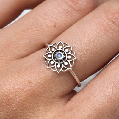 Midsummer Star Ring Snowflake Mandala Moonstone Ring
