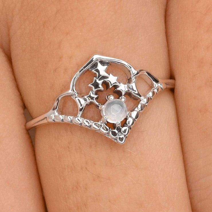 Midsummer Star Ring Space Cluster Moonstone Ring