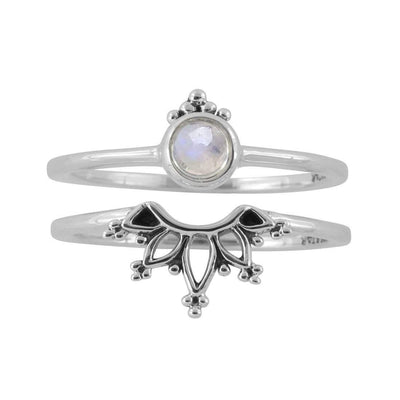 Midsummer Star Ring Wonderland Moonstone Ring Set