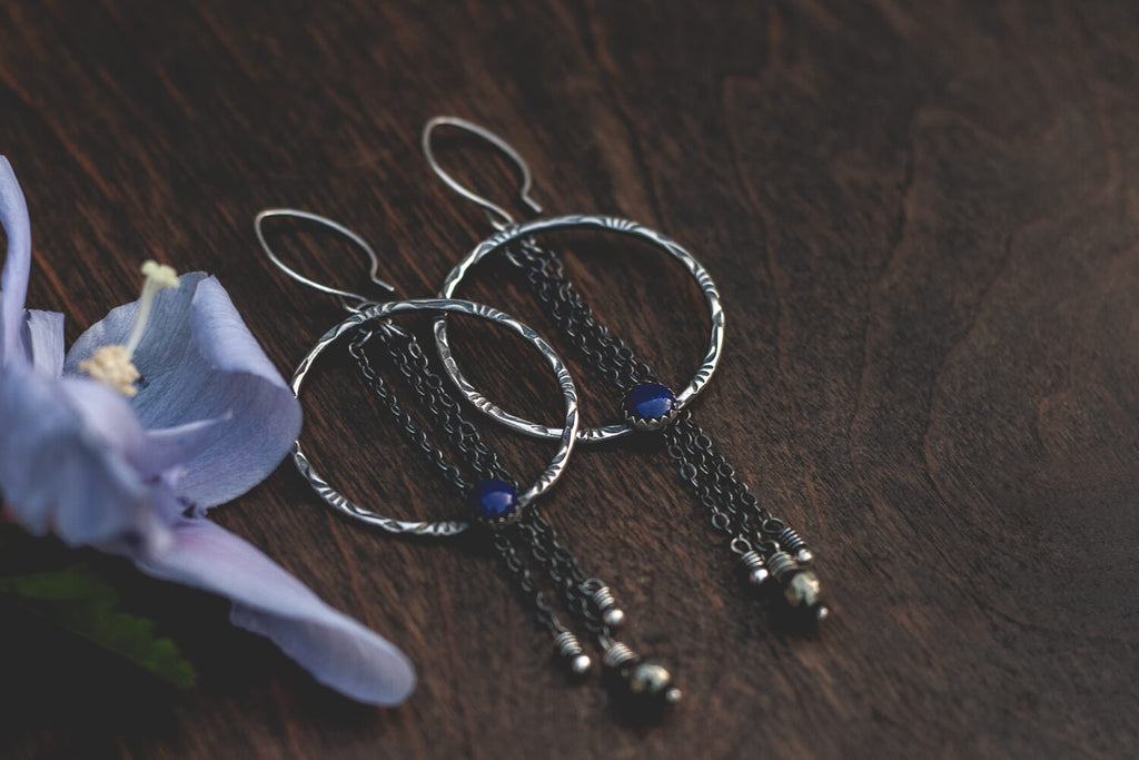 Sterling Silver Lapis Pyrite Handmade Statement Earrings from Andewyn Moon