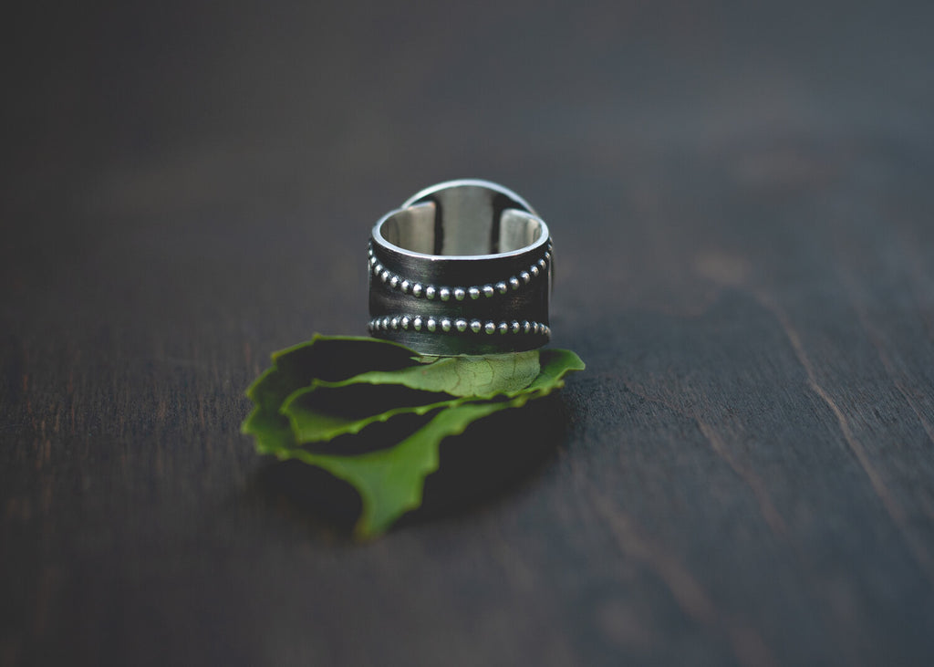 Handmade Sterling Silver Wide Band Ring from Andewyn Moon