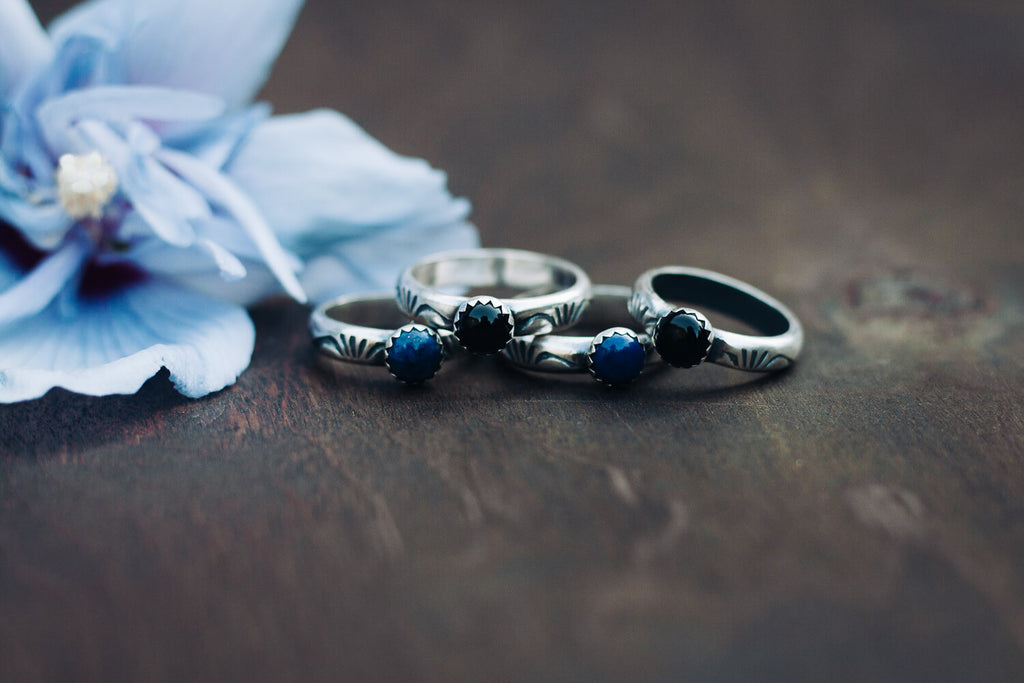 Handmade Sterling Silver lapis or black onyx handstamped stacking rings from Andewyn Moon