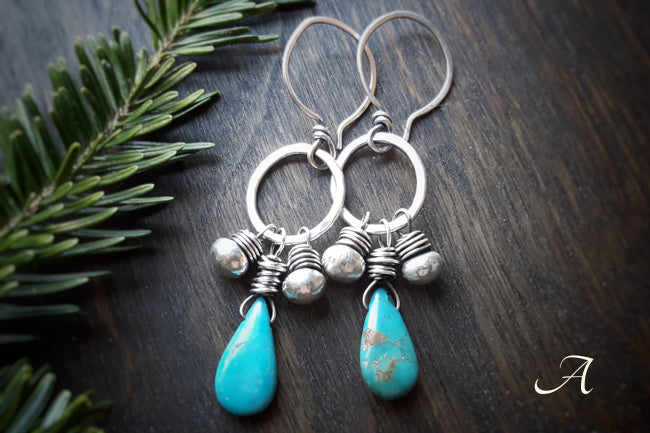 Cheyenne  - Kingman Turquoise and Sterling Silver Drop Earrings - Andewyn Designs
