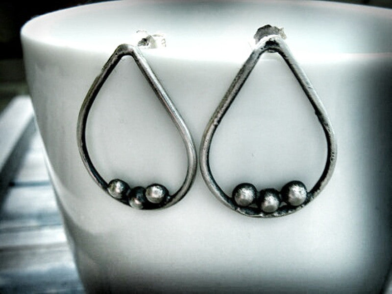 Condensation Handmade Sterling Silver Tear Drop Post Earrings- Andewyn Designs