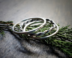 Handmade Sterling Silver Hammered and Twisted Wire Stacking Rings - Andewyn Designs
