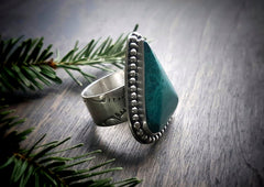 Headed West - Handmade Sterling Silver and Malachite Southwestern Wide Band Ring -  Andewyn Designs 2