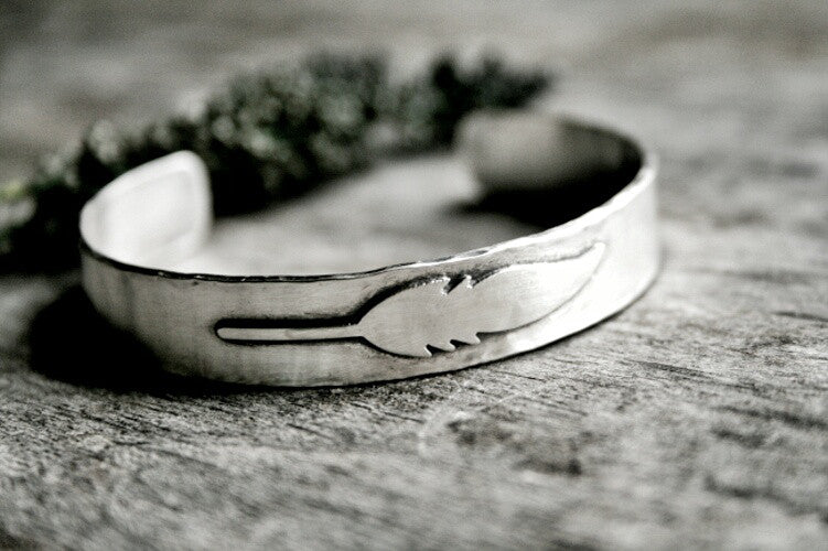Handmade Sterling Silver Feather Boho Cuff Bracelet - Andewyn Designs