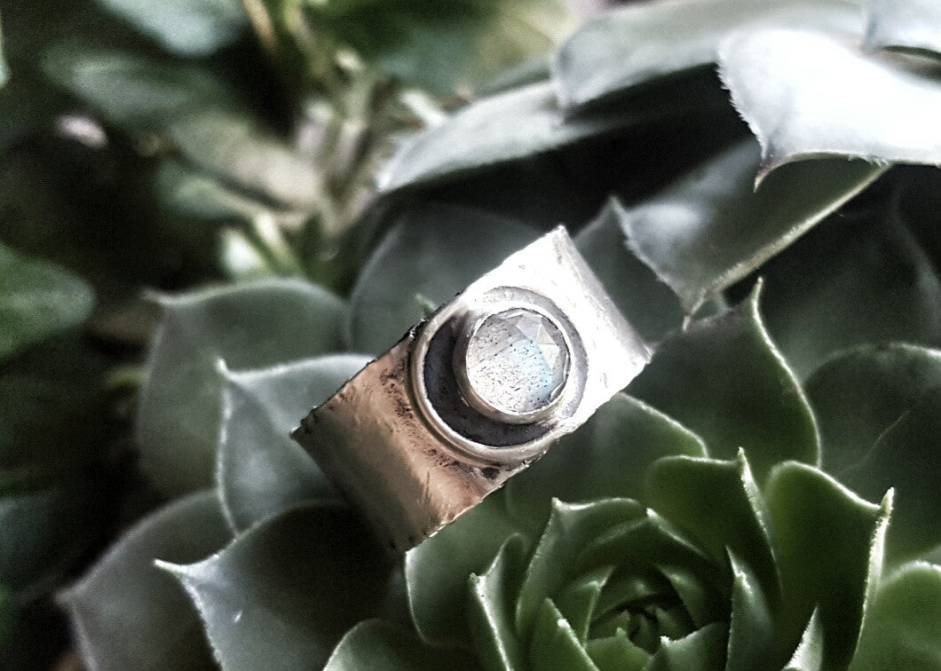 Handmade Sterling Silver Labradorite Wide Band Boho Ring - Andewyn Designs