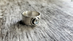 Handmade Sterling Silver Labradorite Wide Band Boho Ring - Andewyn Designs 5