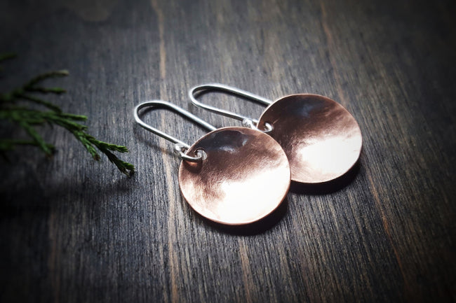 Pool Handmade Copper Concave Disc Minimalist Earrings with Sterling Silver French Ear Wires - Andewyn Designs