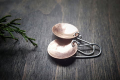 Pool Handmade Copper Concave Disc Minimalist Earrings with Sterling Silver French Ear Wires - Andewyn Designs 2