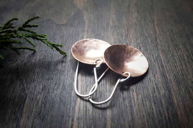 Pool Handmade Copper Concave Disc Minimalist Earrings with Sterling Silver French Ear Wires - Andewyn Designs 3