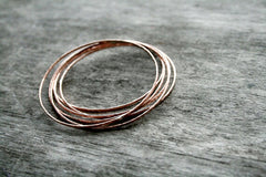 Prisms Handmade Hammered Copper Skinny Stack Bangles - Andewyn Designs 2