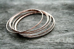 Prisms Handmade Hammered Copper Skinny Stack Bangles - Andewyn Designs 4
