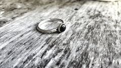 Sterling Silver and Black Onyx Minimalist Stacking Ring - Andewyn Designs 1
