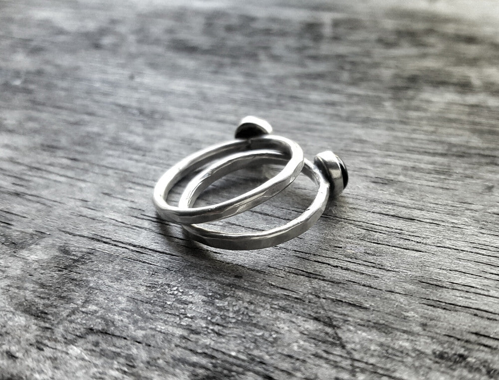 Sterling Silver and Black Onyx Minimalist Stacking Ring - Andewyn Designs 4