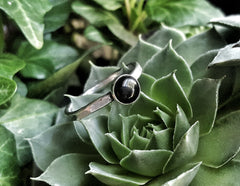 Sterling Silver and Black Onyx Minimalist Stacking Ring - Andewyn Designs