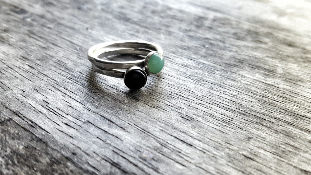 Handmade Sterling Silver and Green Chrysoprase May Birthstone Stacking Ring - Andewyn Designs 4