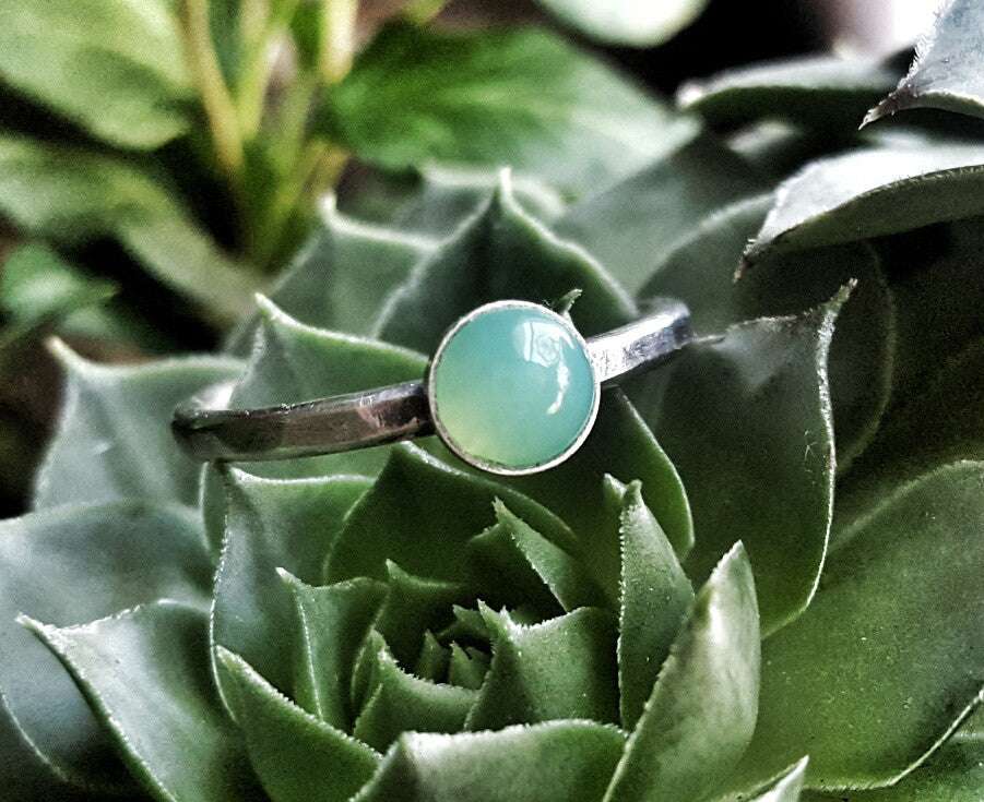 Sterling Silver and Green Chrysoprase May Birthstone Stacking Ring - Andewyn Designs