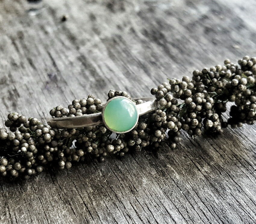 Handmade Sterling Silver and Green Chrysoprase May Birthstone Stacking Ring - Andewyn Designs