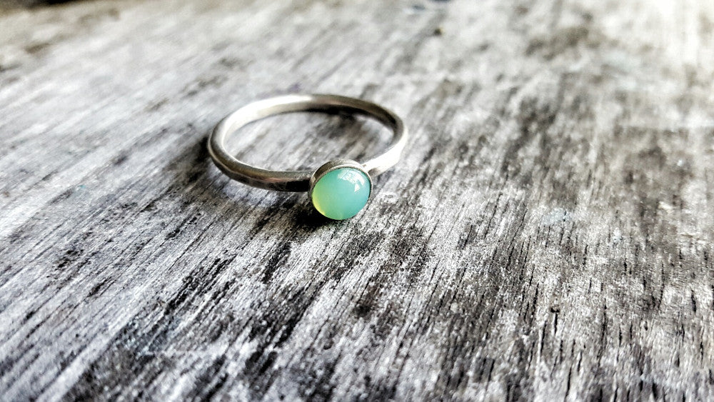 Handmade Sterling Silver and Green Chrysoprase May Birthstone Stacking Ring - Andewyn Designs 3