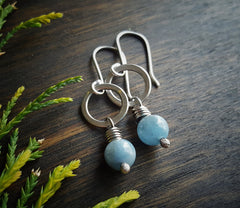 Sterling Silver Minimalist Single Bead Amazonite  Circle Earrings Boho - Andewyn Designs3