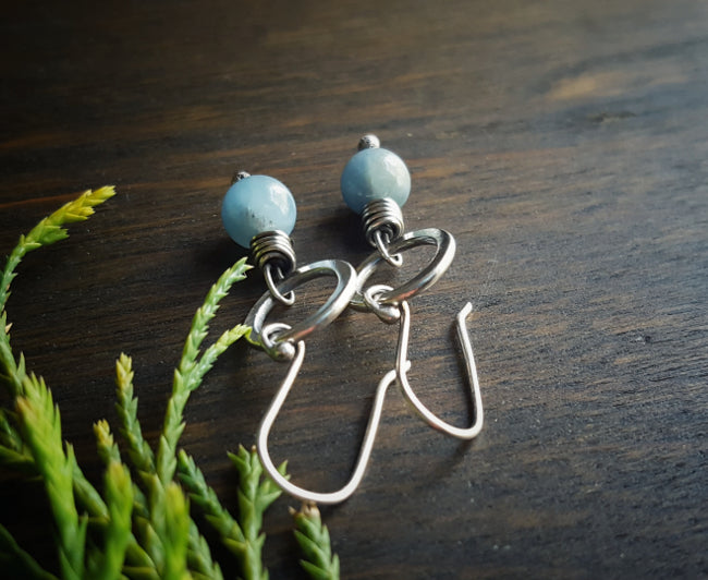 Sterling Silver Minimalist Single Bead Amazonite  Circle Earrings Boho - Andewyn Designs 4