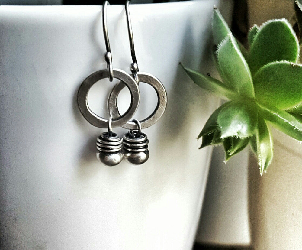 Sterling Silver Minimalist Single Bead Circle Earrings Boho - Andewyn Designs 2