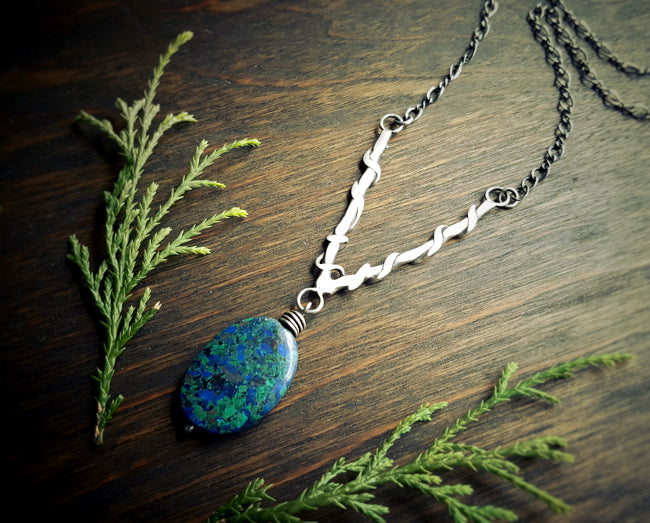 Handmade Sterling Silver Wire Wrapped Long V Necklace with Azurite in Malachite Boho Pendant -  Andewyn Designs 3
