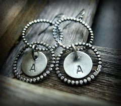 Handmade Sterling Silver Personalized Circle Earrings - Andewyn Designs