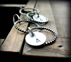 Handmade Sterling Silver Personalised Circle Earrings - Andewyn Designs