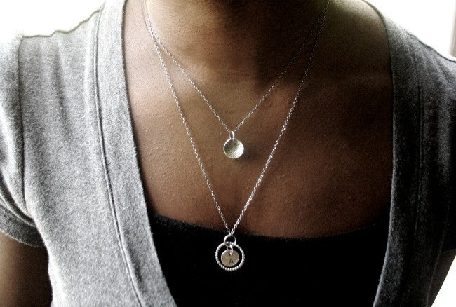 Handmade Sterling Silver Small Disc Pendant Minimalist Necklace - Andewyn Designs 4
