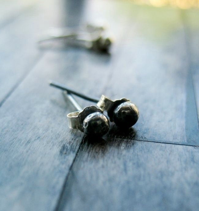 Handmade Sterling Silver Tiny Ball Minimalist Stud Post Earrings - Andewyn Designs 2