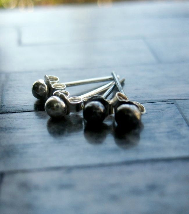 Handmade Sterling Silver Tiny Ball Minimalist Stud Post Earrings - Andewyn Designs 3
