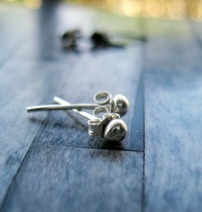 Handmade Sterling Silver Tiny Ball Minimalist Stud Post Earrings - Andewyn Designs 4
