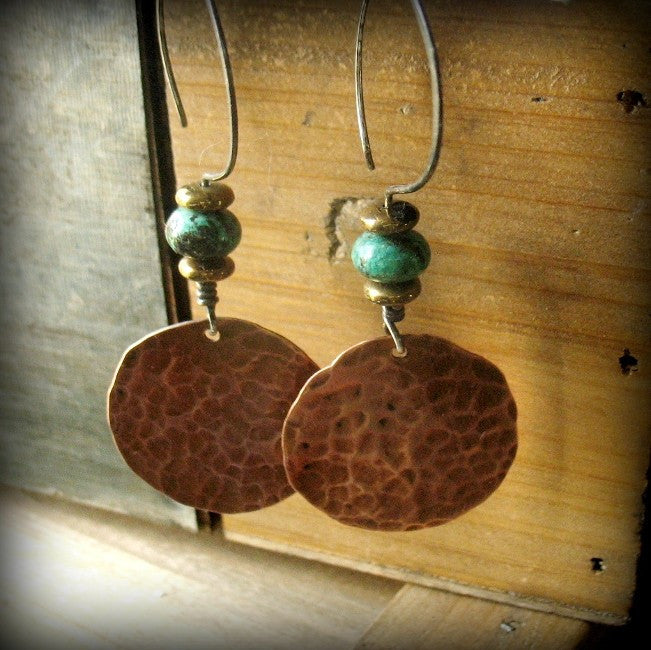 Handmade Copper and African Turquoise Large Circle Tribal Earrings with Sterling Silver Ear wires - Andewyn Designs 4